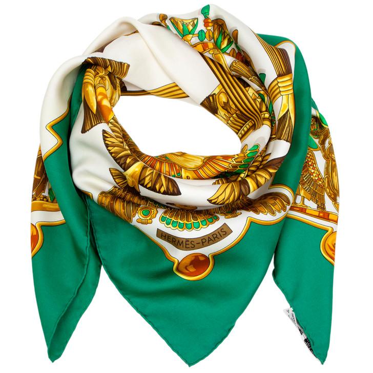 Hermes Green/Ivory Silk Scarabees et Pectoraux Scarf 90