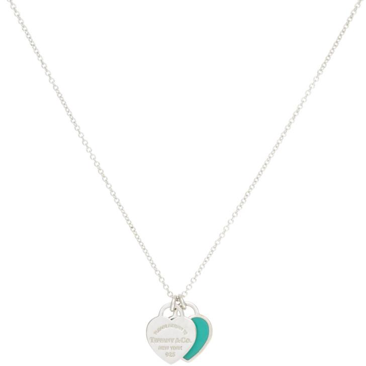 Tiffany & Co. Sterling Silver Mini  Double Heart Tag Pendant