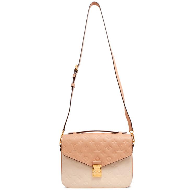 Louis Vuitton Beige Rose Creme Empreinte Pochette Metis