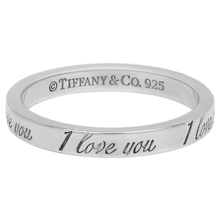 Tiffany & Co. Sterling Silver Notes 'I Love You' Ring