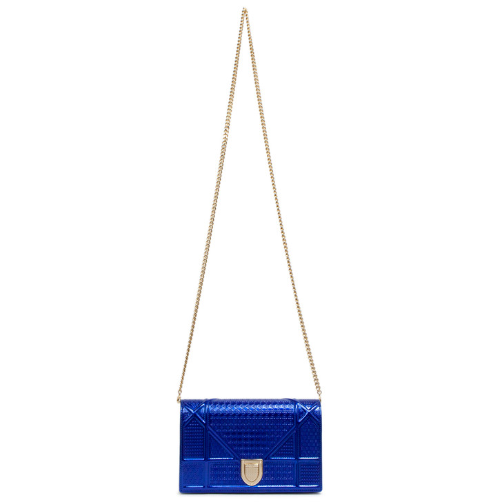 Christian Dior Metallic Blue Patent Micro Cannage Diorama Wallet on Chain