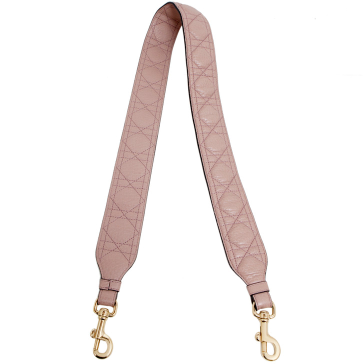 Christian Dior Light Pink Supple Calfskin Cannage Shoulder Strap