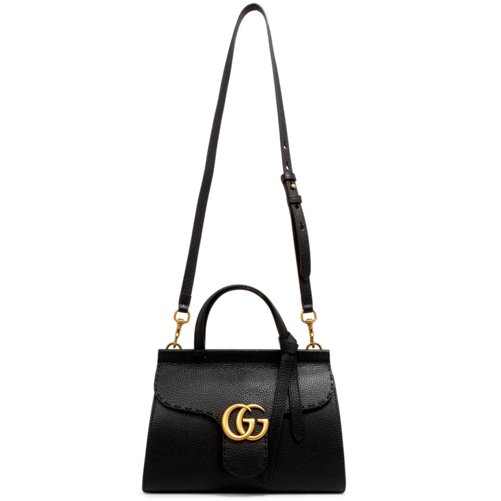 Gucci Black Calfskin Mini GG Marmont Top Handle Bag