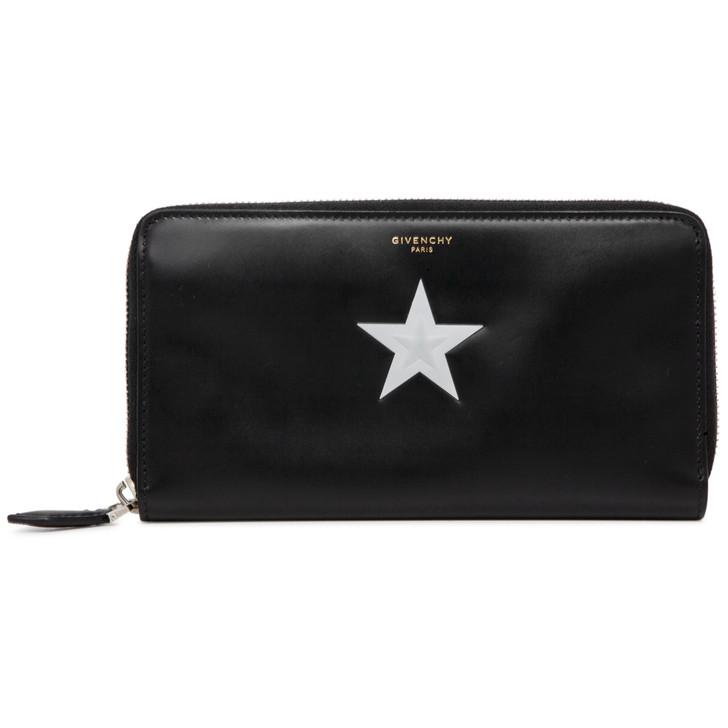Givenchy Black Smooth Calfskin Star Print Zip Around Wallet