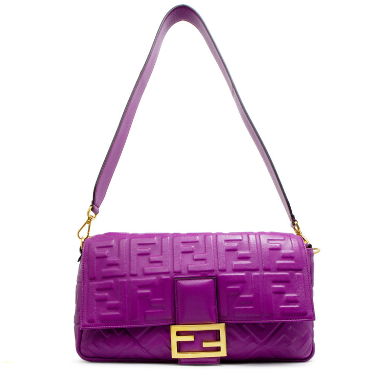 Fendi Purple Nappa Embossed Large Baguette