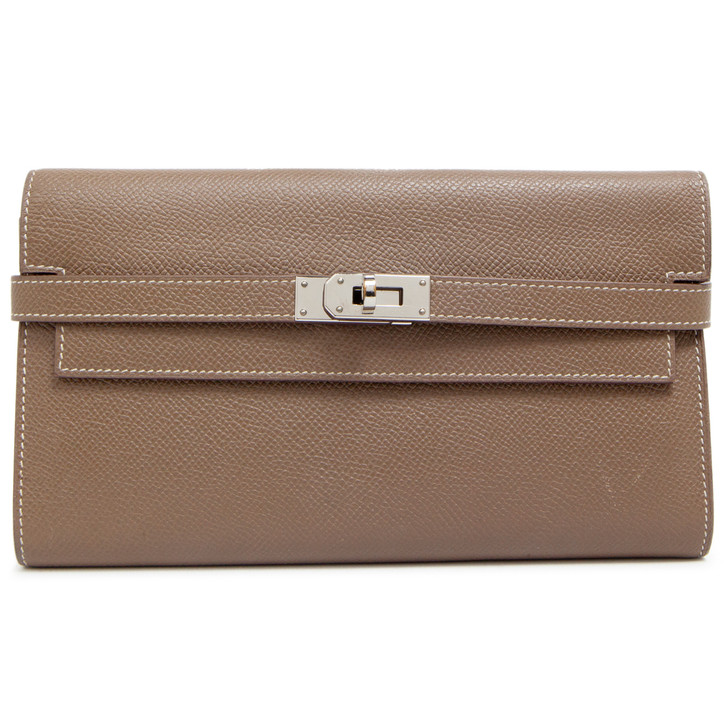 Hermes Etoupe Epsom Kelly Longue Wallet