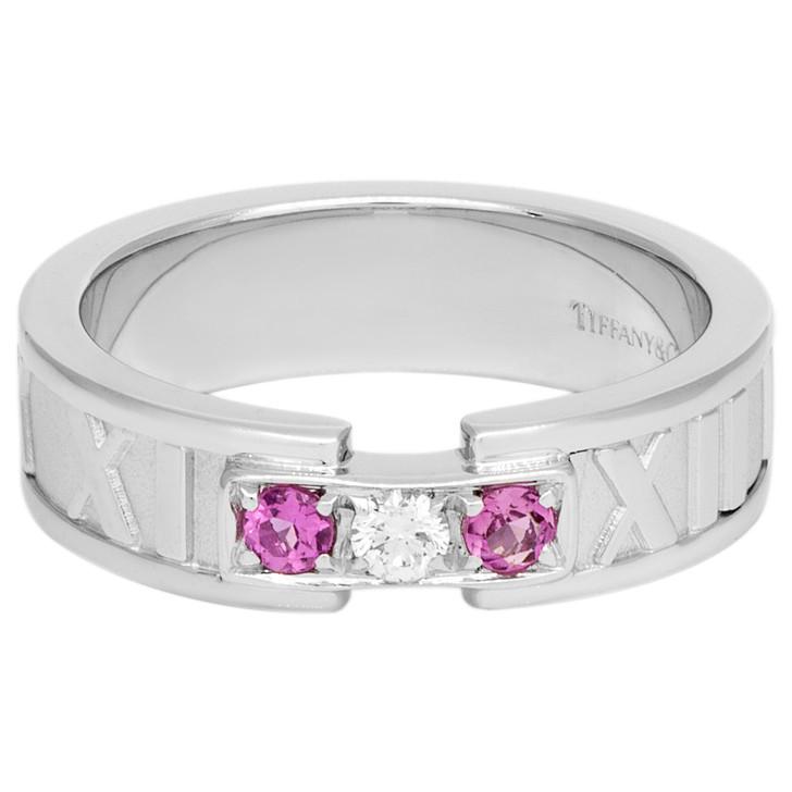 Tiffany & Co. 18K White Gold Diamond & Pink Sapphire Atlas Ring