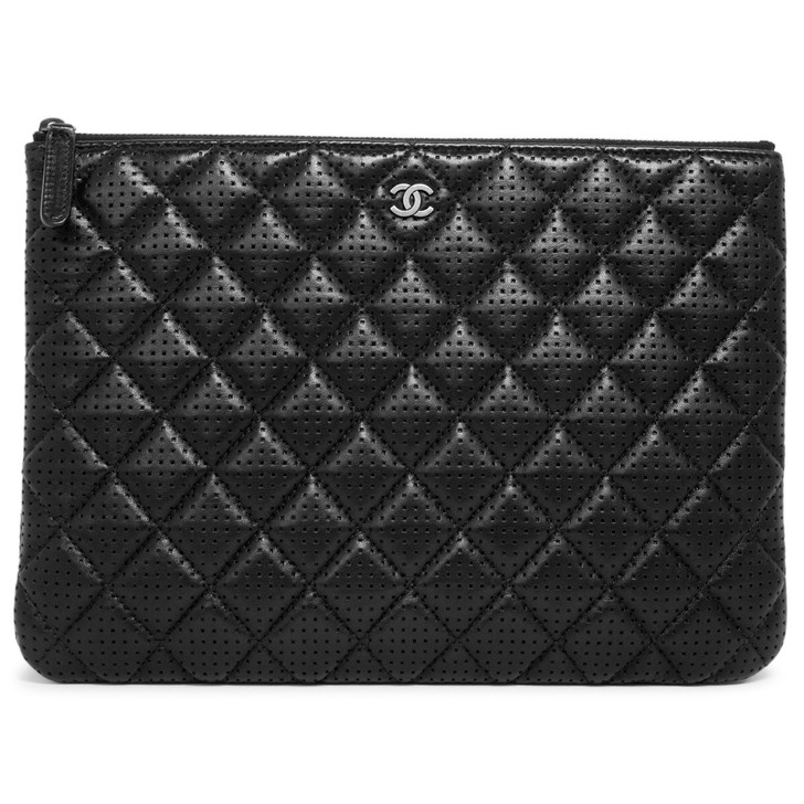 Chanel Black Perforated Lambskin Medium Cosmetic Case