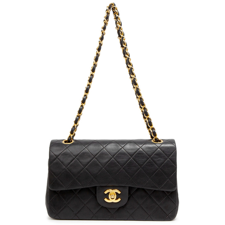 Chanel Vintage Black Quilted Lambskin Small Classic Double Flap
