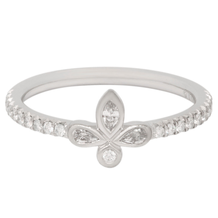 Tiffany & Co. Platinum Diamond Fleur de Lis Ring