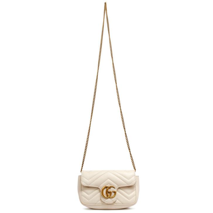Gucci White Matelasse Calfskin Super Mini GG Marmont