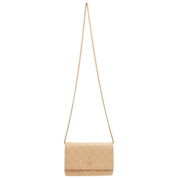Chanel Beige Quilted Caviar Classic Wallet on Chain WOC