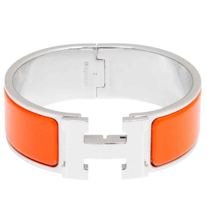 Hermes Orange Enamel Wide  Clic Clac Bracelet