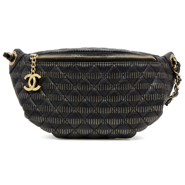 Chanel Black/Gold Quilted Caviar Banane Waist Bag