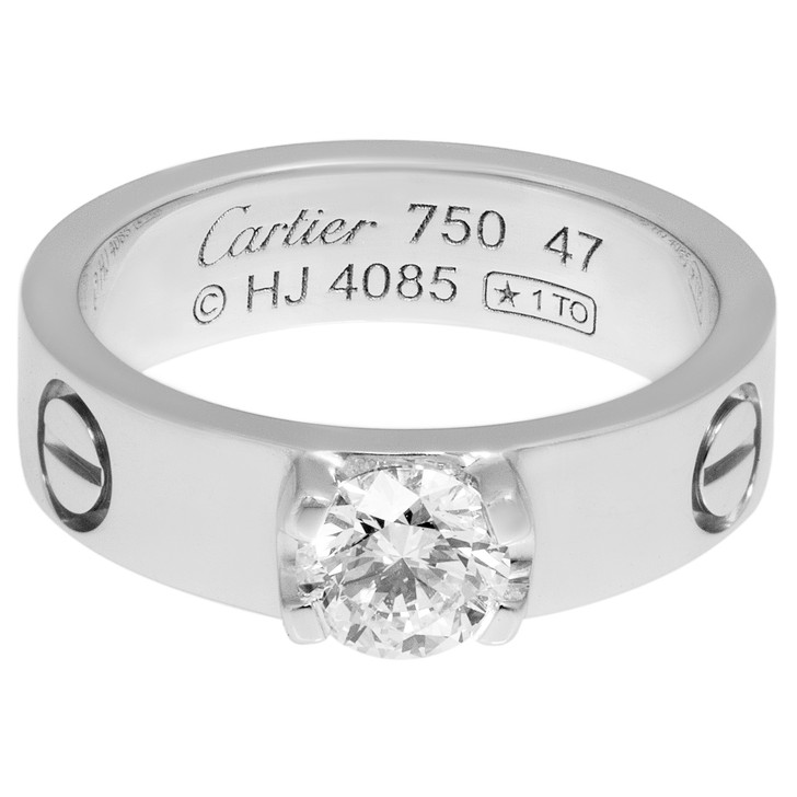 Cartier 18K White Gold & Diamond Love Solitaire Ring