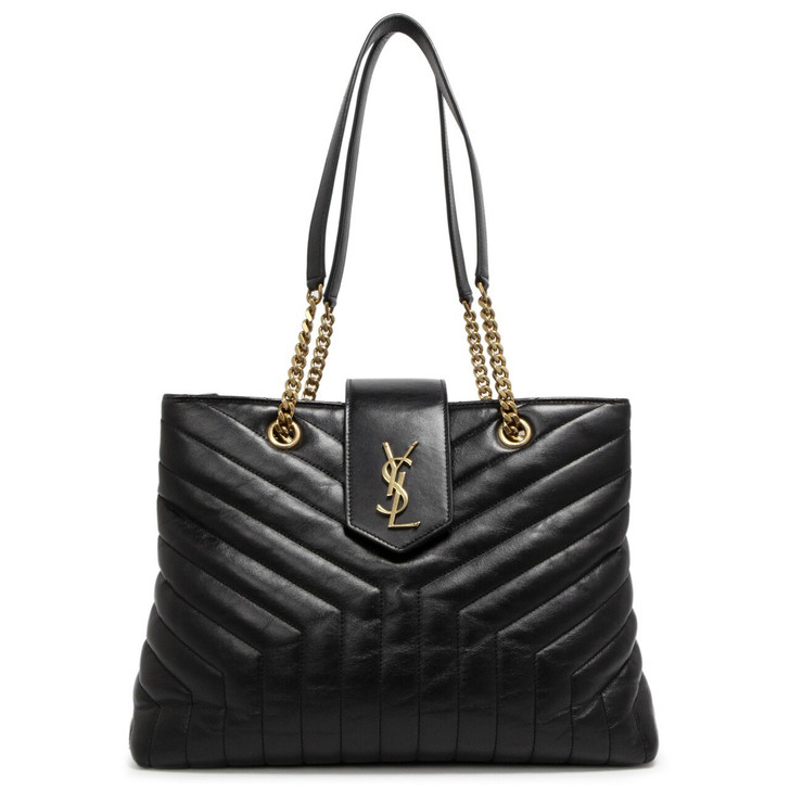 Saint Laurent Black Calfskin Y Quilted Monogram Large Loulou Shopper  Tote