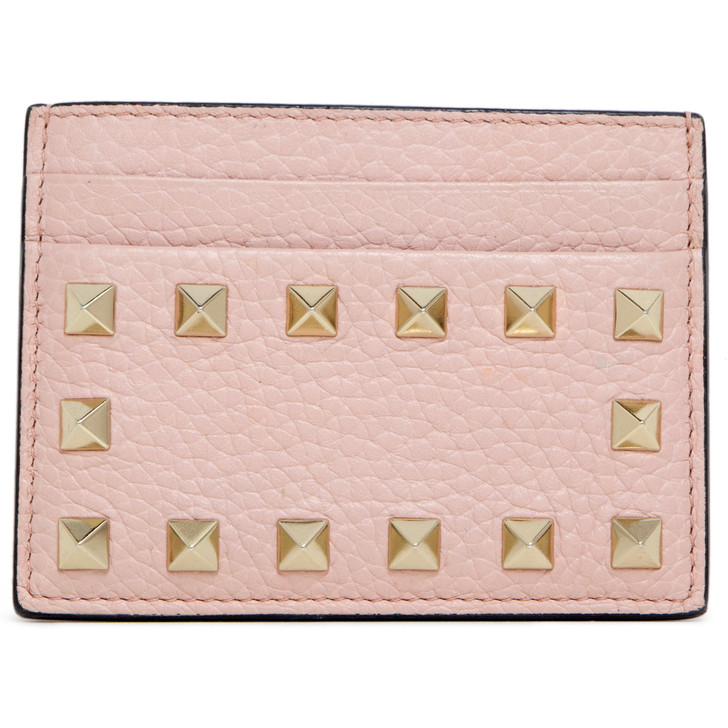 Valentino Pink Grained Calfskin  Rockstud Card Holder