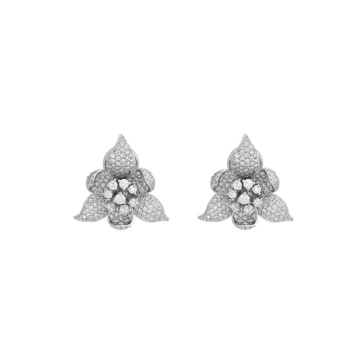 18K White Gold 2.38 Carat Diamond Blossom Earrings