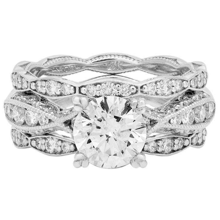 Tacori 18K White Gold 3 Ring Engagement Set
