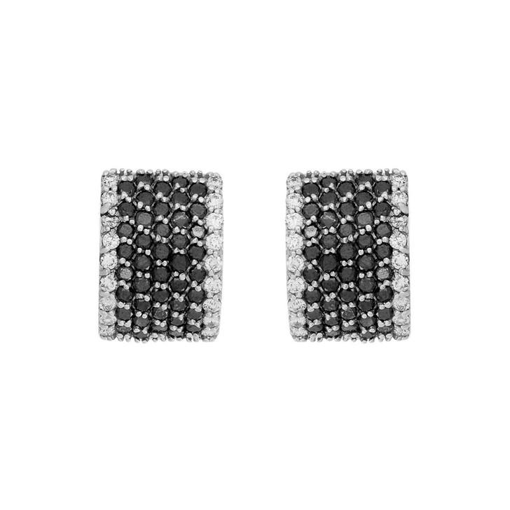18K White Gold Black Diamond Hoop Earrings