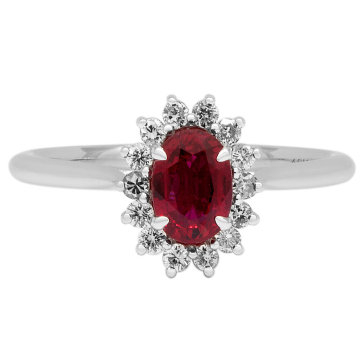 18K White Gold 1.02 Carat Ruby Diamond Ring