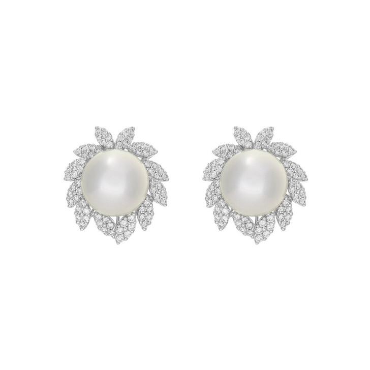 18K White Gold South Sea Pearl 1.98 Carat Diamond Earrings