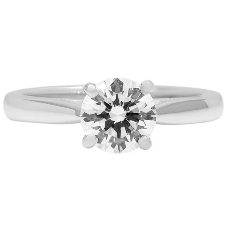 14K White Gold 0.90 Carat Diamond Solitaire Ring