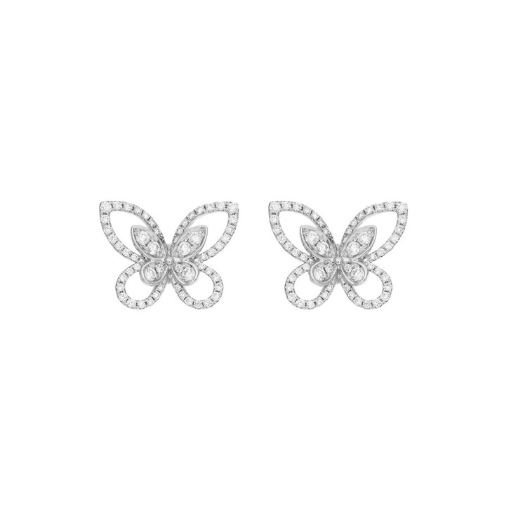 18K White Gold Diamond Butterfly Earrings