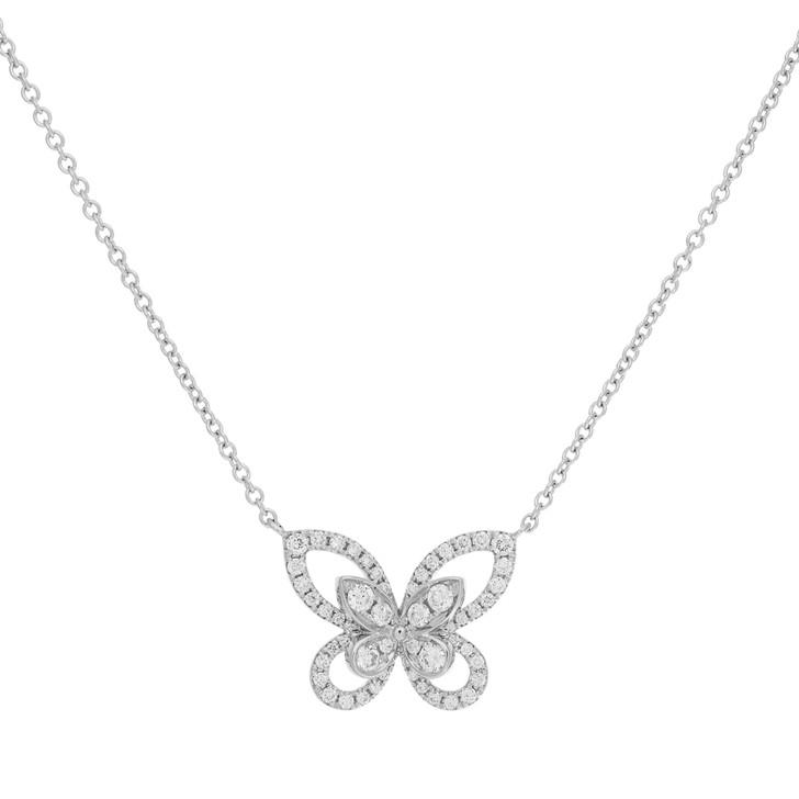 18K White Gold Diamond Butterfly Pendant