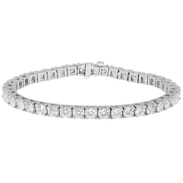14K White Gold 8.18 Carat Diamond Tennis Bracelet