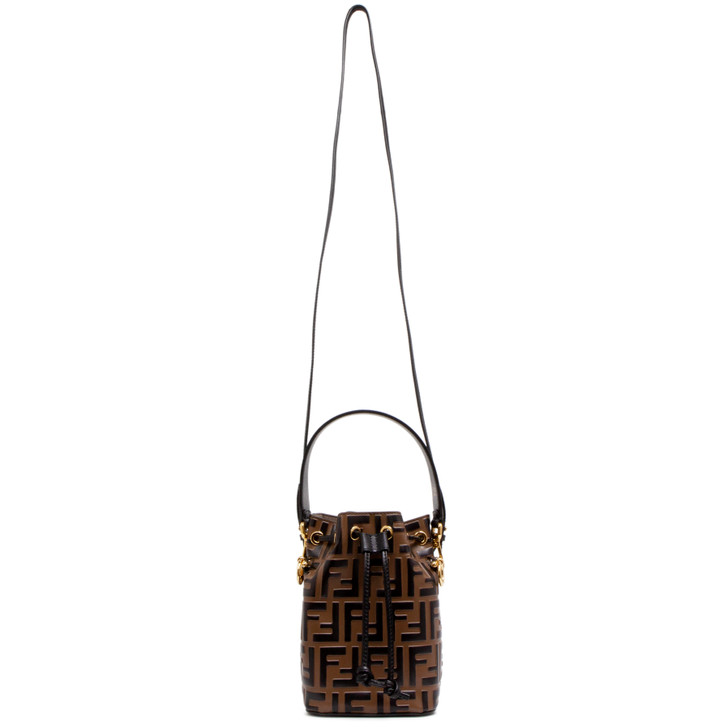 Fendi Brown Calfskin Zucca Embossed Mini Mon Tresor Bucket  Bag