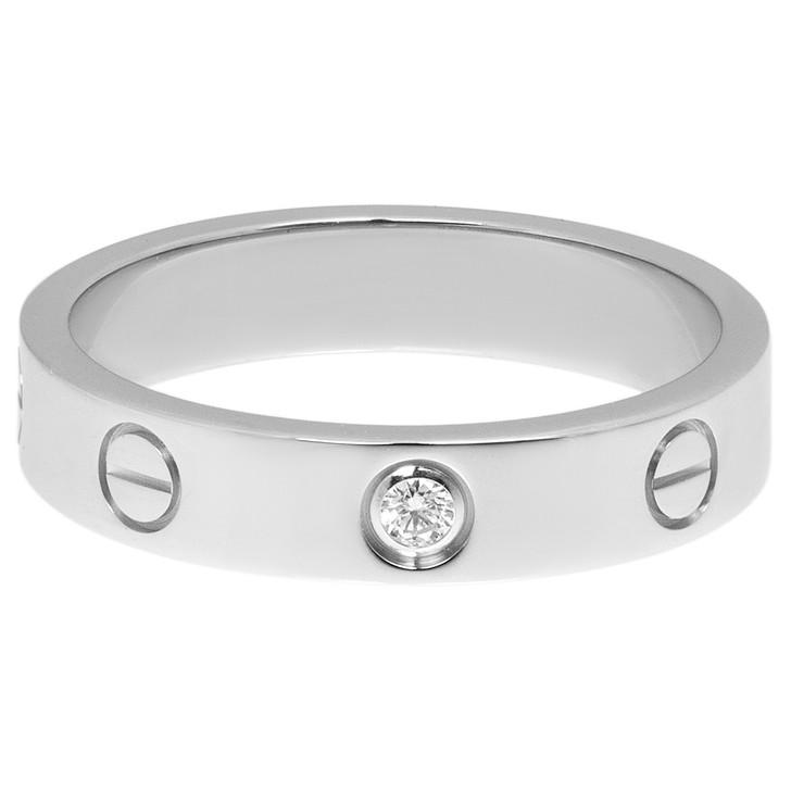 Cartier 18K White  Gold 1 Diamond Love Wedding Band