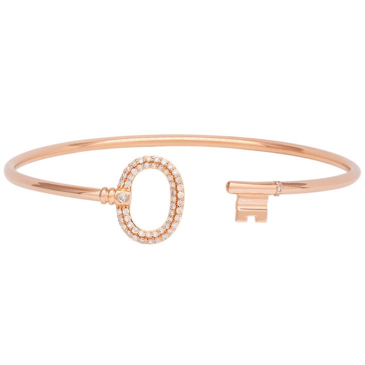 Tiffany & Co. 18K Rose  Gold & Diamond Keys Wire Bracelet