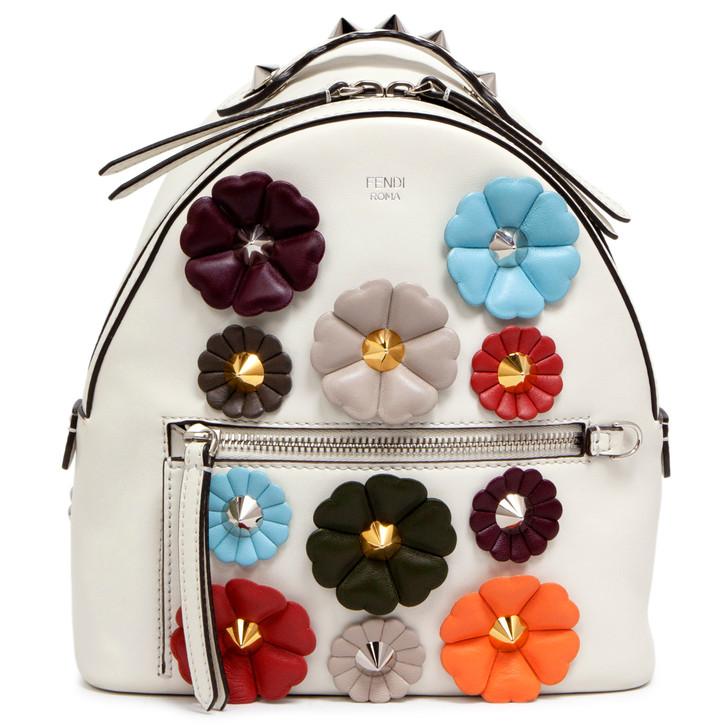Fendi White Calfskin Flowerland Mini Backpack