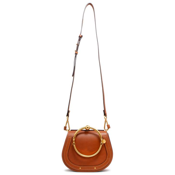 Chloe Caramel Calfskin & Suede Small Nile Bracelet Bag