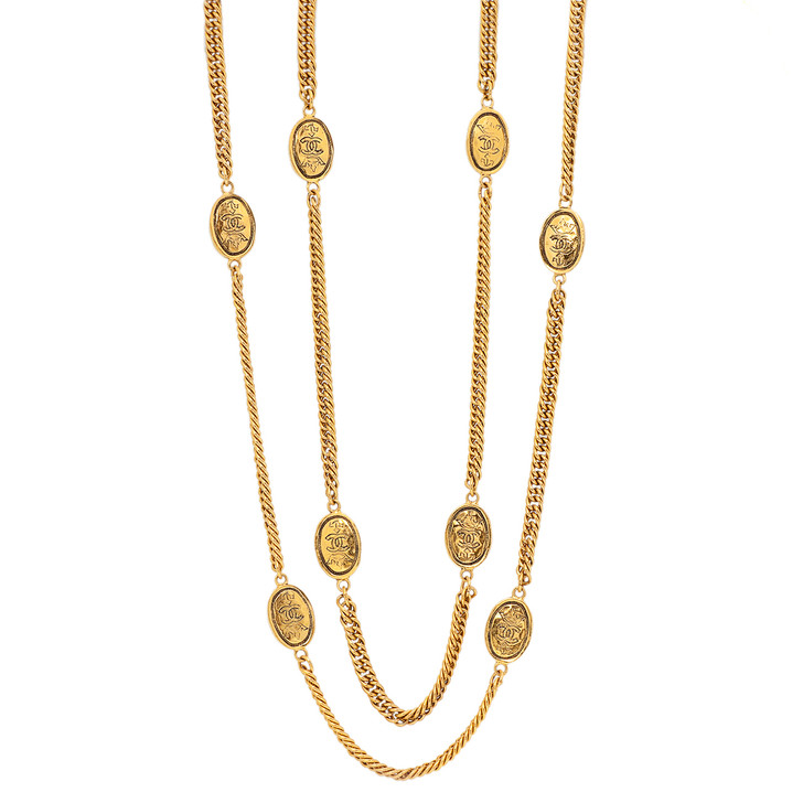 Chanel CC Crown Long Medallion Necklace