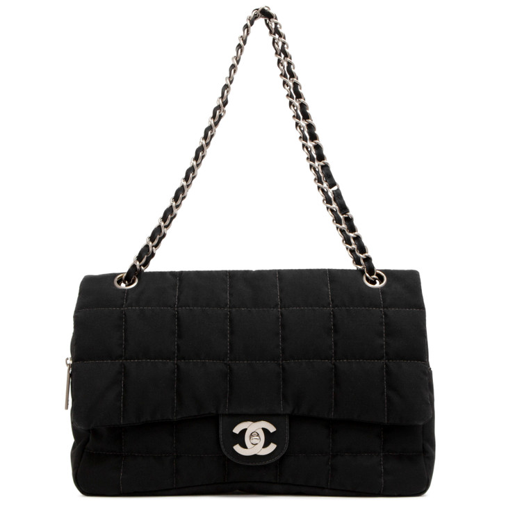 Chanel Black Nylon Square Quilted Flap