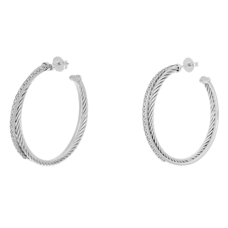 David Yurman Sterling Silver & 14K White Gold Diamond XL Crossover Hoop Earrings
