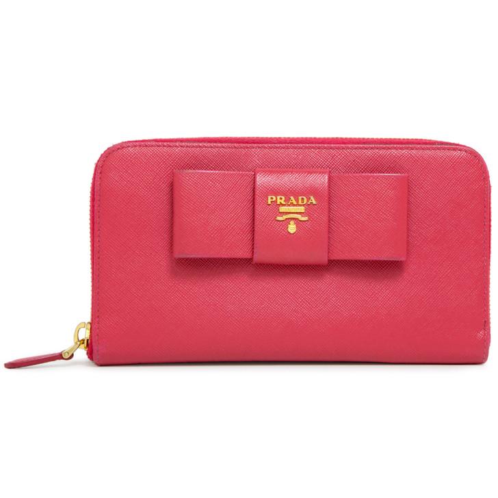 Prada Peonia Saffiano Zip Around Bow Wallet