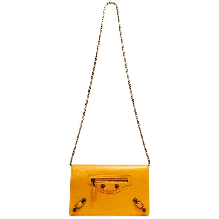 Balenciaga Jaune Miel Agneau Giant 12 Brass Wallet on Chain