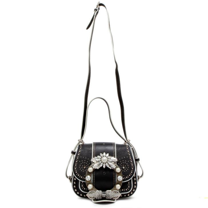 Miu Miu Black Goatskin Crystal Embellished Lady Saddle