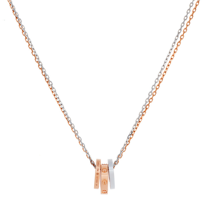 Cartier 18K Pink/White Gold 6 Diamond Love Necklace