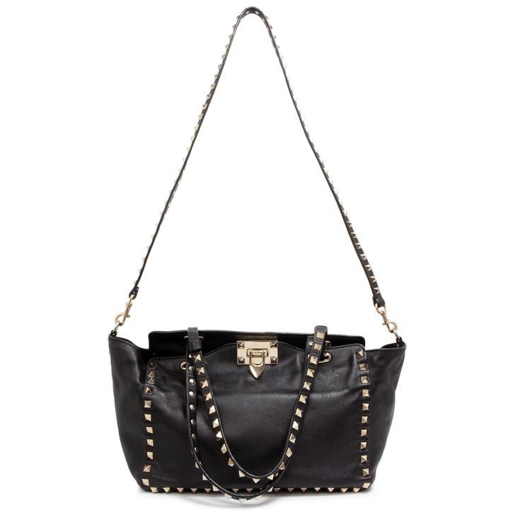 Valentino Black Vitello Small Rockstud Tote