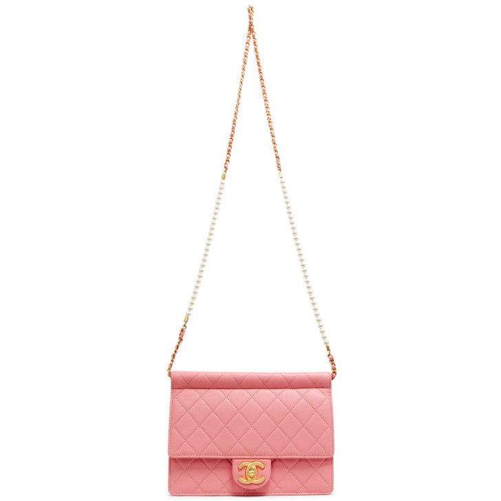 Chanel Pink Quilted Lambskin Pearl Chain Flap  Bag