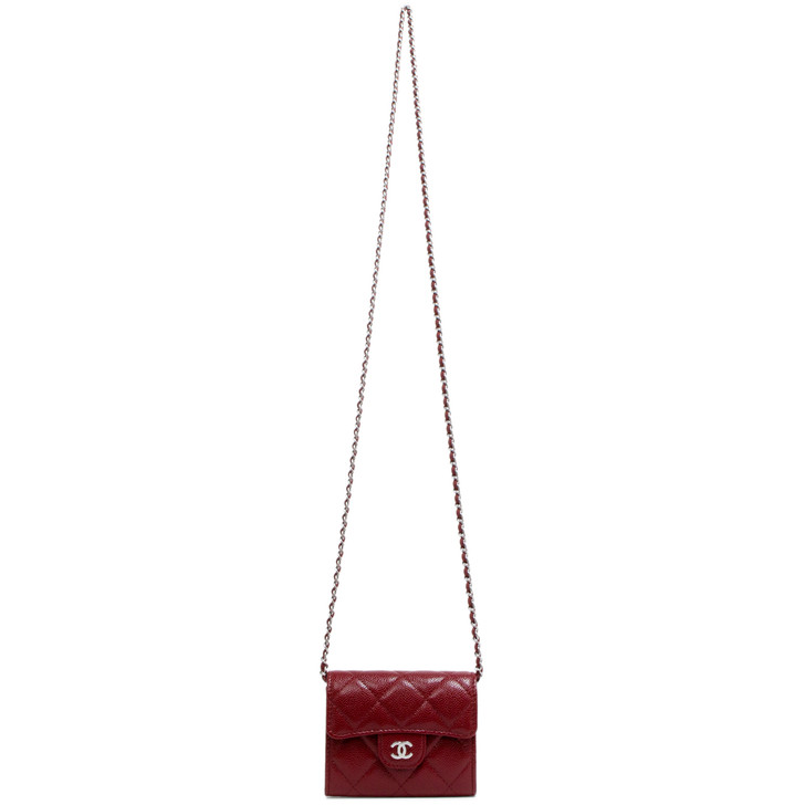 Chanel Burgundy Quilted Caviar Card Holder on Chain