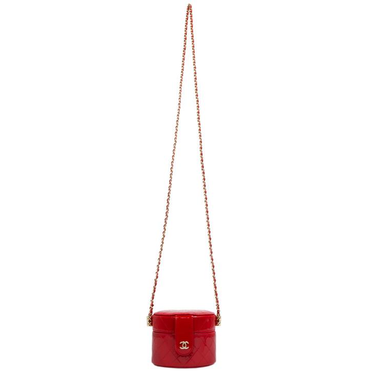 Chanel Red Quilted Patent Round Mini Vanity Case With Chain