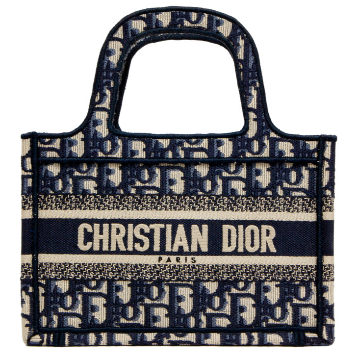 Christian Dior Blue Oblique Mini Book Tote