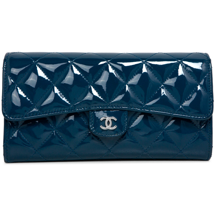 Chanel Blue Quilted Patent Large Gusset Flap Wallet