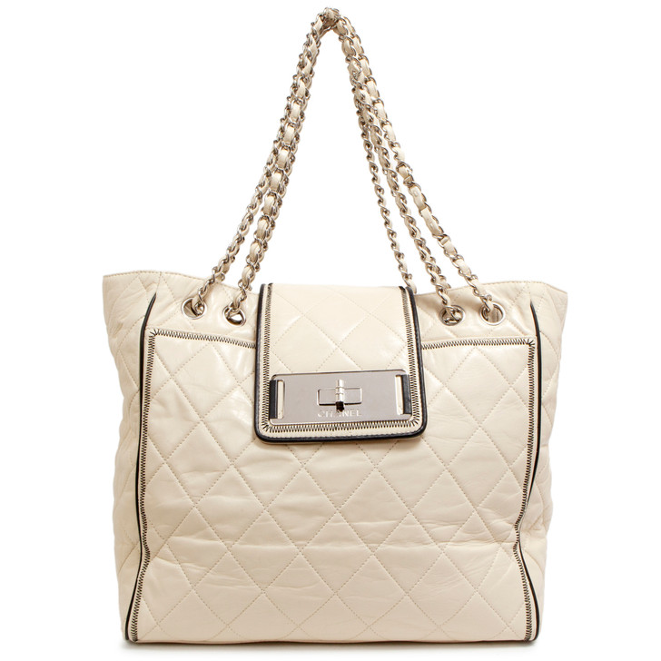 Chanel Ivory Quilted Lambskin Large East West Tote