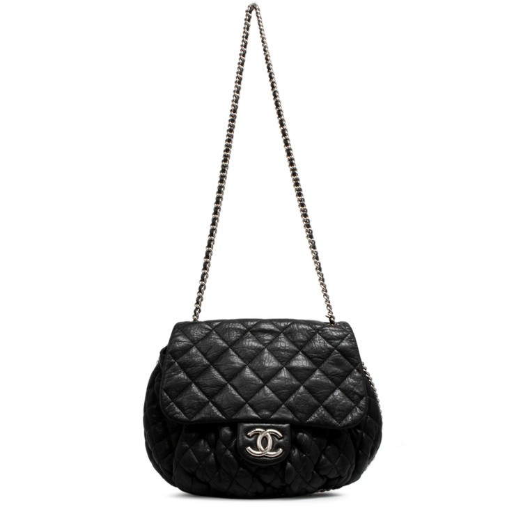 Chanel Black Washed Quilted Lambskin Large Chain Around Flap